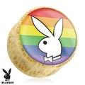 Playboy Bunny Logo on Rainbow Print Wood Saddle Plug (Sold Individually) - Thumbnail 0