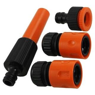 Unique Bargains Garden Black Orange Plastic Quick Hose Connectors Adapter 4 Pcs