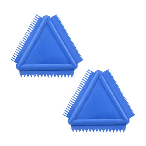 "Wood Grain Tool 4"" Triangle Rubber Pattern Scraper Tool for Wall Paint Blue 2pcs"