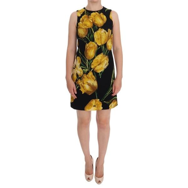 60b4d58c Shop Dolce & Gabbana Black Yellow Tulip Print Wool Shift Dress ...