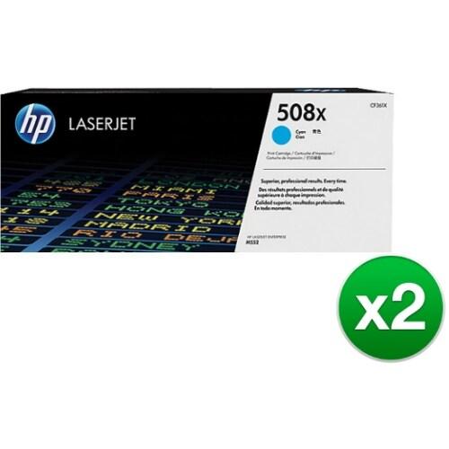 HP 508X Cyan High Yield Original LaserJet Toner Cartridge (CF361X)(2-Pack)