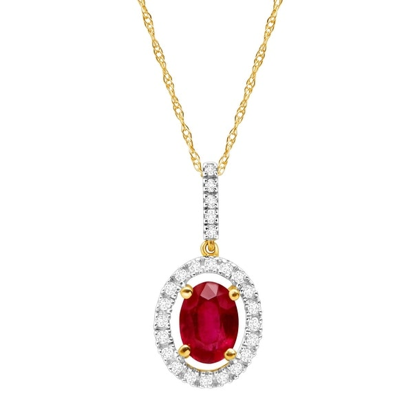 1 1/8 ct Natural Ruby & 1/8 ct Diamond Halo Pendant in 14K Gold - Red