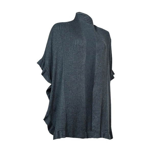Charter Club Women's Ruffled Ribbed Open-Front Cardigan
