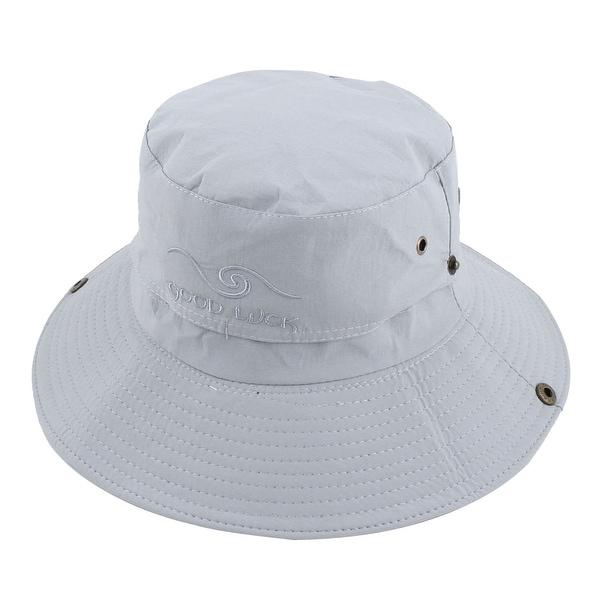 ccb155b78cca34 Outdoor Sport Hiking Mesh Wide Brim Protector Bucket Summer Cap Fishing Hat  Gray
