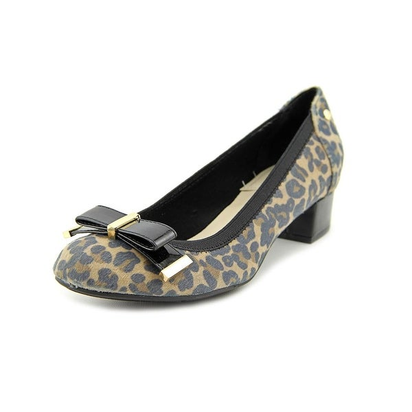 Famous Name Brand Marcy Round Toe Canvas Heels