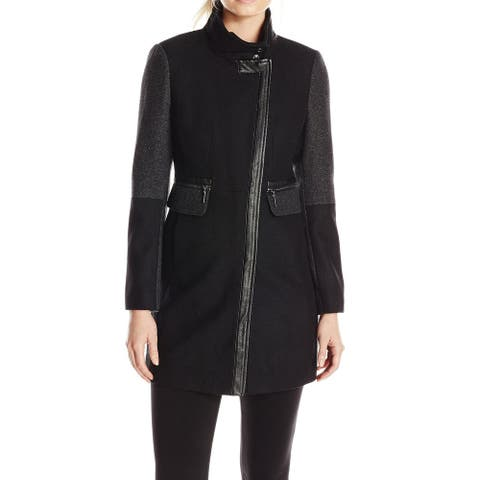 Kensie Womens Coat Black Combo Size Small S Asymmetrical Colorblock
