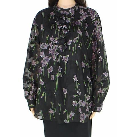 Lauren By Ralph Lauren Women Blouse Black Purple 14W Plus Ozarra Floral