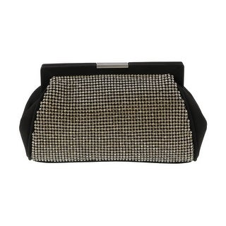 Scheilan Black Fabric Double Sided Crystal Paneled Clutch/Shoulder Bag