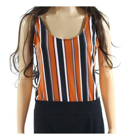 Polly & Esther Orange Women's Large L Scoop Neck Striped Bodysuit Top 217