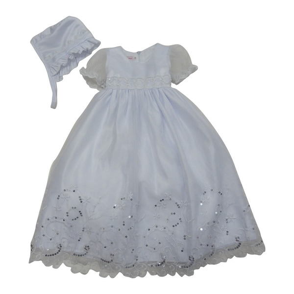 Baby Girls White Satin Sequin Embellished Organza Bonnet Christening Gown 6M