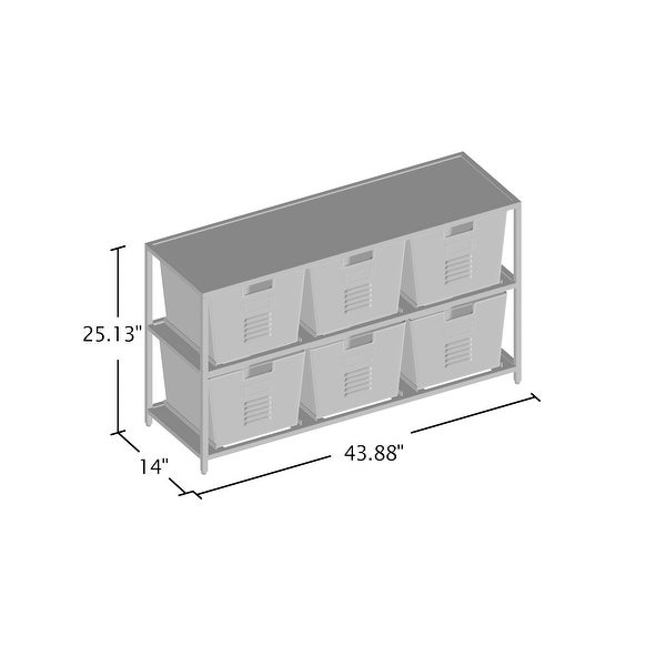 Furniture of America Copern Industrial Grey Metal 6-bin Storage Shelf