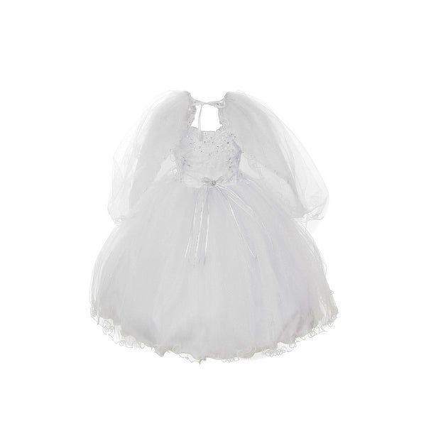 Rain Kids Little Girls White Organza Tulle Baptism Cape Dress 2T-6