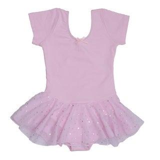 Danshuz Little Girl Pink Short Sleeve Skirt Ballet Leotard Size 2-14