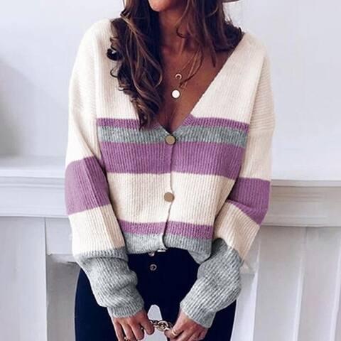 V-Neck Button Stripe Sweater Cardigan