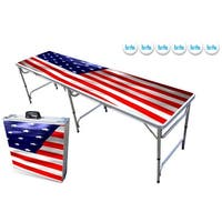 8-ft Beer Pong Table w/ OPTIONAL Cup Holes & LED Lights - USA Edition