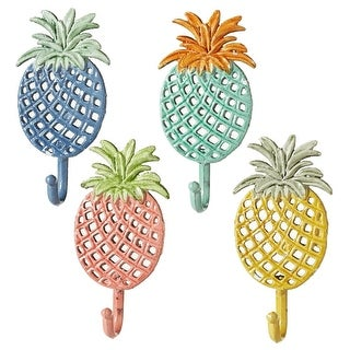 Set of 4 Assorted Colorful Pineapple and Leaf Designed Wall Hooks 7""