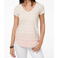 Lucky Brand Beige Women's Small S Gradient Floral V-Neck T-Shirt