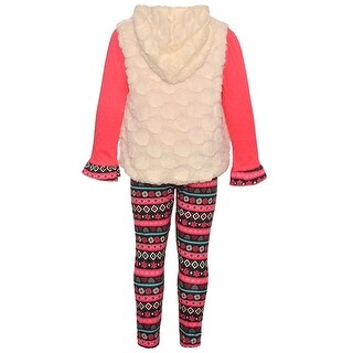 Real Love Little Girls Coral Zip Motif Print Hooded Top 2 Pc Legging Set