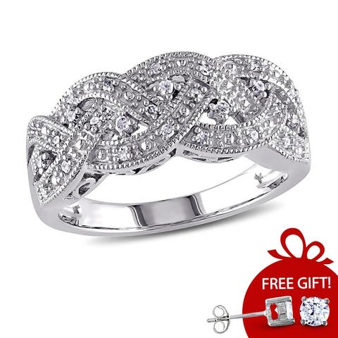 Braided 1/8ct TDW Diamond Ring in Sterling Silver by Miadora