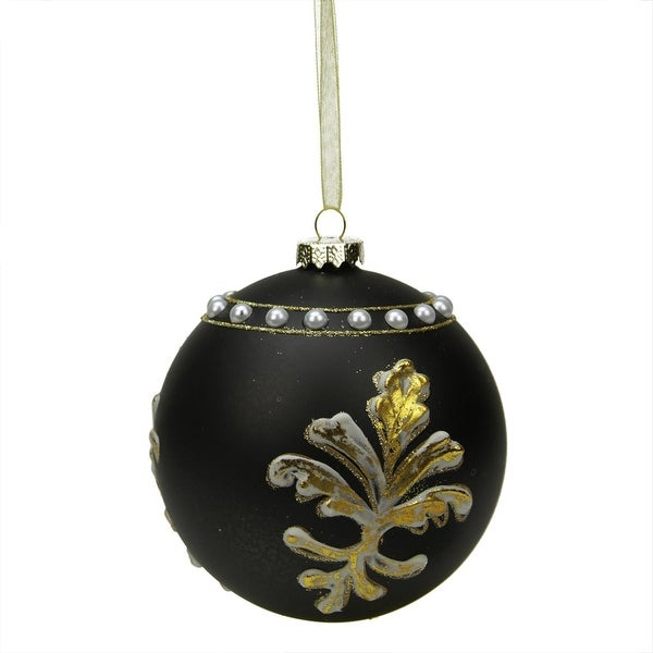 "4.5"" Black and Gold Victorian Style Glass Ball Christmas Ornament"