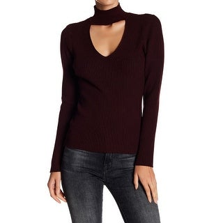 John + Jenn Plum Womens Ribbed Choker Pullover Sweater