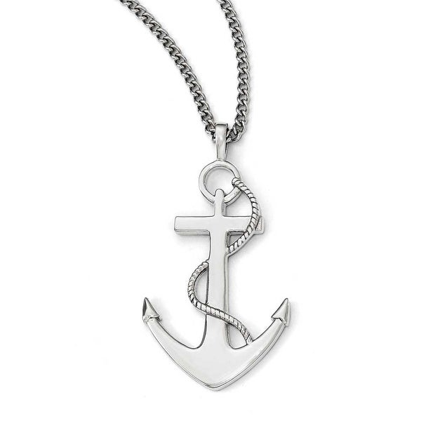Chisel Stainless Steel Polished Anchor Necklace - 24 in