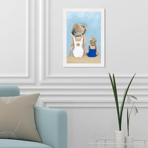 Oliver Gal 'Love You More' Fashion and Glam Framed Wall Art Prints Swimsuit - Blue, White