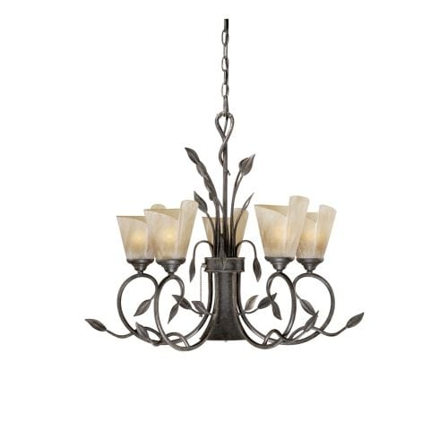 Vaxcel Lighting CP-CHB006 Capri 5 Light Single Tier Chandelier with Frosted Glass Shades - 29 Inches Wide - Black