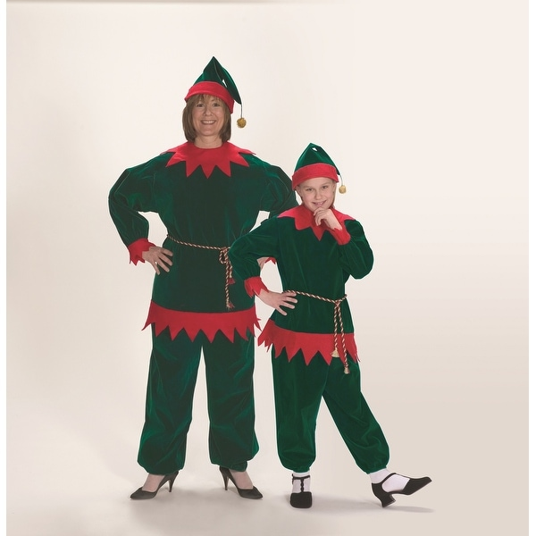 0cd962599449f 4 Piece Red and Green Velvet Christmas Elf Suit – Adult Size Medium