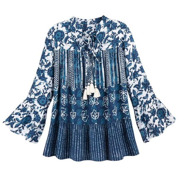 5b016e6c15e Shop Women's China Blue Batik Tunic Top - Floral Print Bell Sleeves Peasant  Blouse - Free Shipping On Orders Over $45 - Overstock - 21505963
