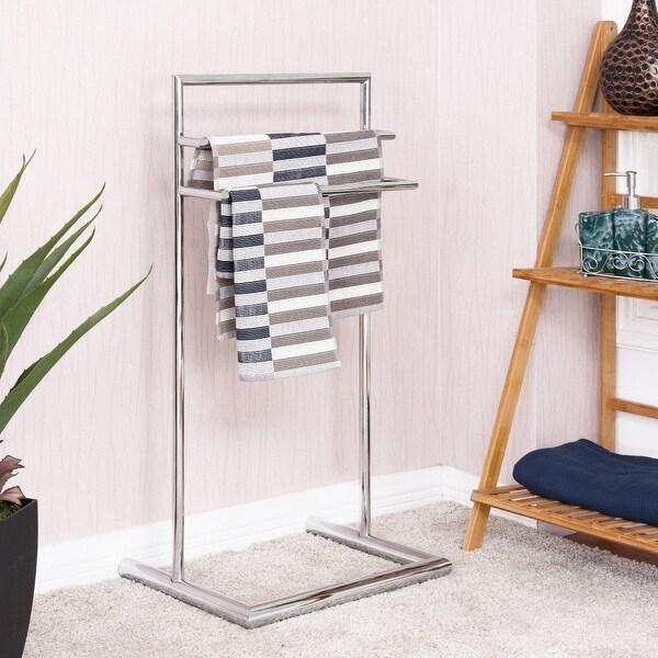 amusing bathroom floor towel rack   Shop Costway 3 Tier Metal Towel Rack Holder Floor Stand ...