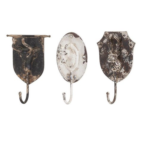 Set of 3 Distressed Vintage Style Metal Animal Wall Hooks 11