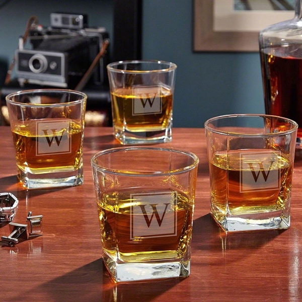 Block Monogram Personalized Rutherford Whiskey Glasses