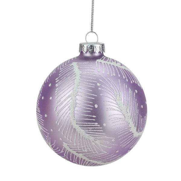 """4"""" Matte Lavender Purple and White Glitter Feathers Glass Ball Christmas Ornament"""