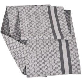NEW Gucci Men's 438253 Grey Wool Web Stripe GG Guccissima Scarf Muffler