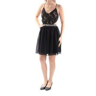 Womens Black Spaghetti Strap Above The Knee Circle Cocktail Dress Size: 5