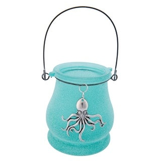 Teal Blue Lantern Shaped Glass Tealight Holder with Pewter Octopus Icon