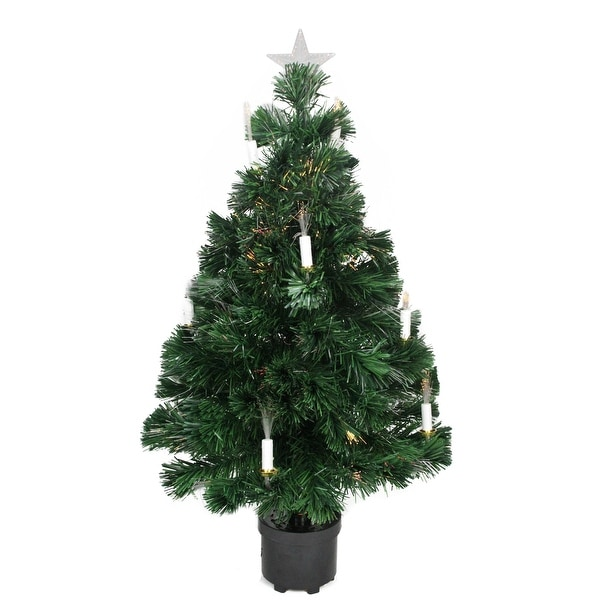 Shop 3' Pre-Lit Fiber Optic Artificial Christmas Tree With