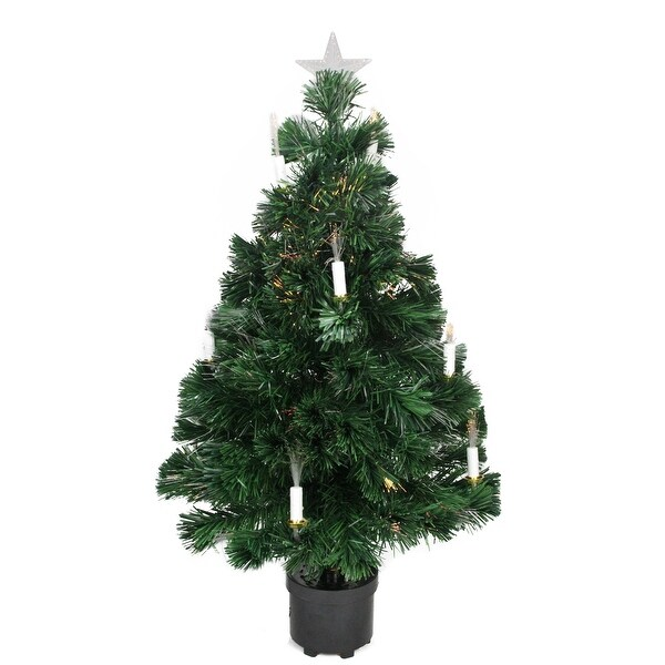 Shop 3' Pre-Lit Fiber Optic Artificial Christmas Tree with ...