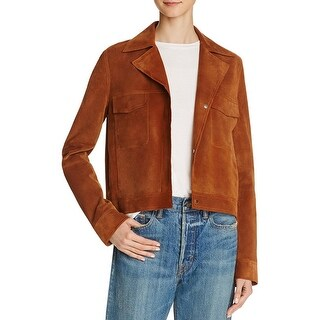 Vince Womens Motorcycle Jacket Calf Leather Long Sleeves
