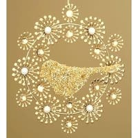 Beaded Gold Wreath with Bird Christmas Ornament
