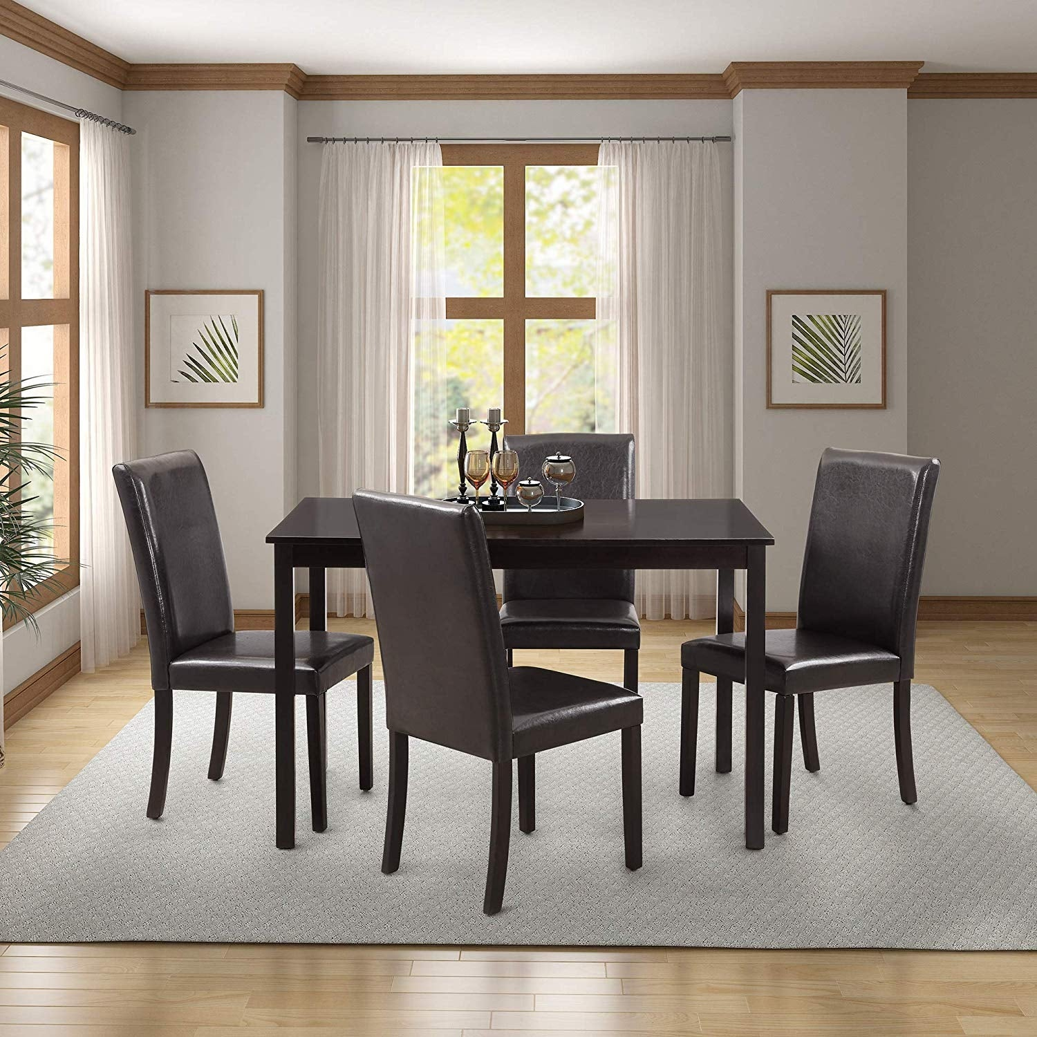 5 Pieces Dining Table Set For 4 Person Home Kitchen And Leather Chairs