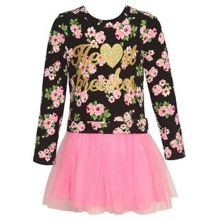 """Little Girls Black Gold """"Heart Breaker"""" Floral Print Long Sleeved Dress"""