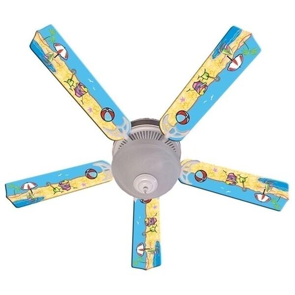 Fun at the Beach Print Blades 52in Ceiling Fan Light Kit - Multi