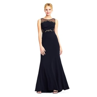 Link to Adrianna Papell Crepe illusion Mermaid Gown Floral Jeweled, Black, 14 Similar Items in Dresses