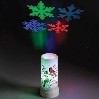 "6.5"" LED Christmas Cardinal Battery Operated USB Snowflake Projector Candle"