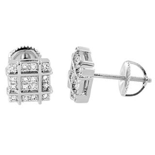Square Shape Earrings Silver Tone Lab Diamonds Screw Back Studs Classy