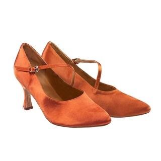 Sansha Adult Light Tan Satin Upper Heeled Mireya Ballroom Shoes Womens