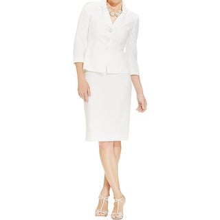 Le Suit Womens Yacht Club Skirt Suit Textured 2PC