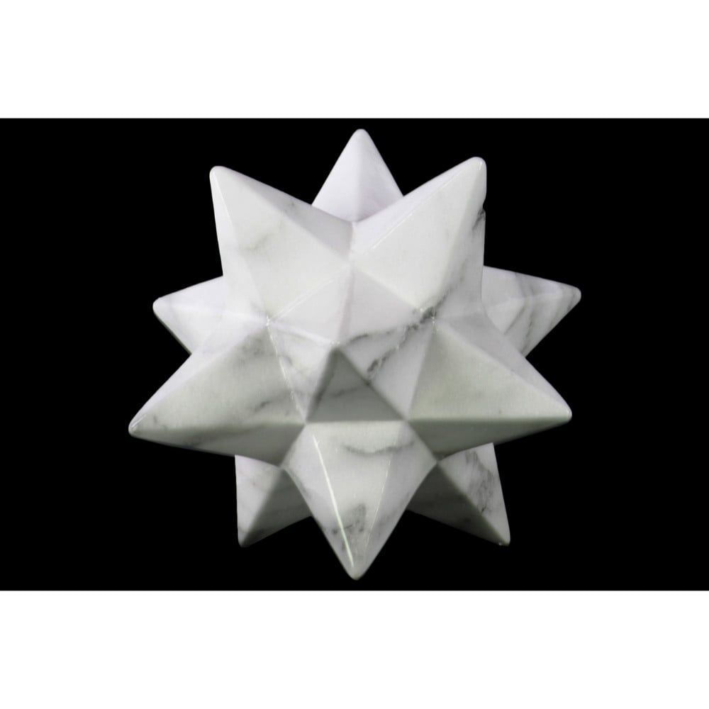 Marbleized 12 Point Stellated Sculpture In Ceramic, Large, White